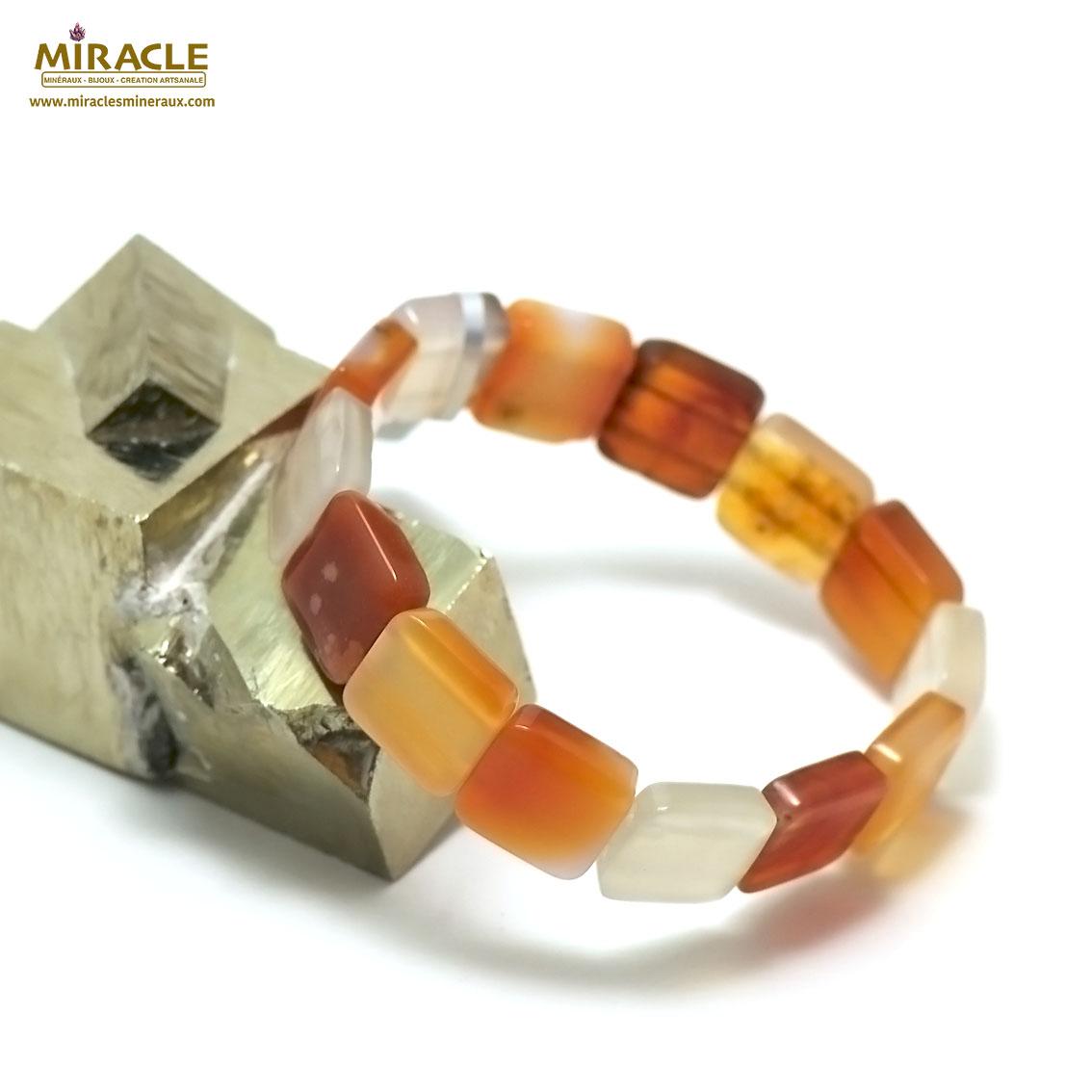 bracelet cornaline plaquette carrée