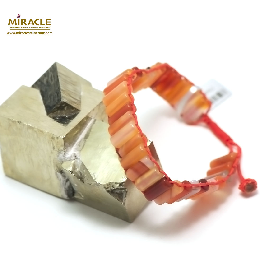 bracelet cornaline  tube façon shamballa,002