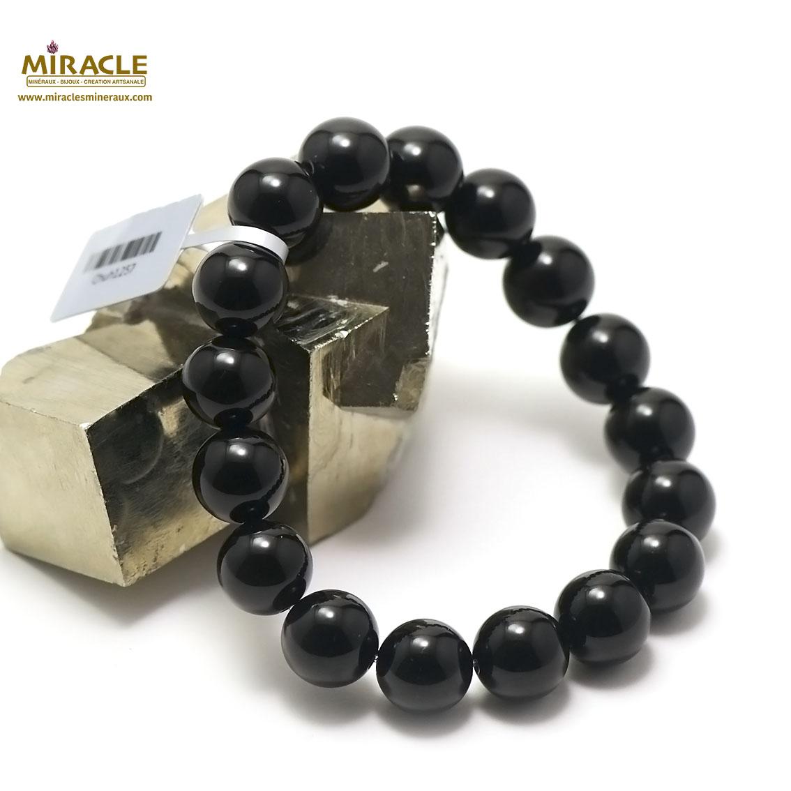 bracelet onyx  perle ronde 12 mm