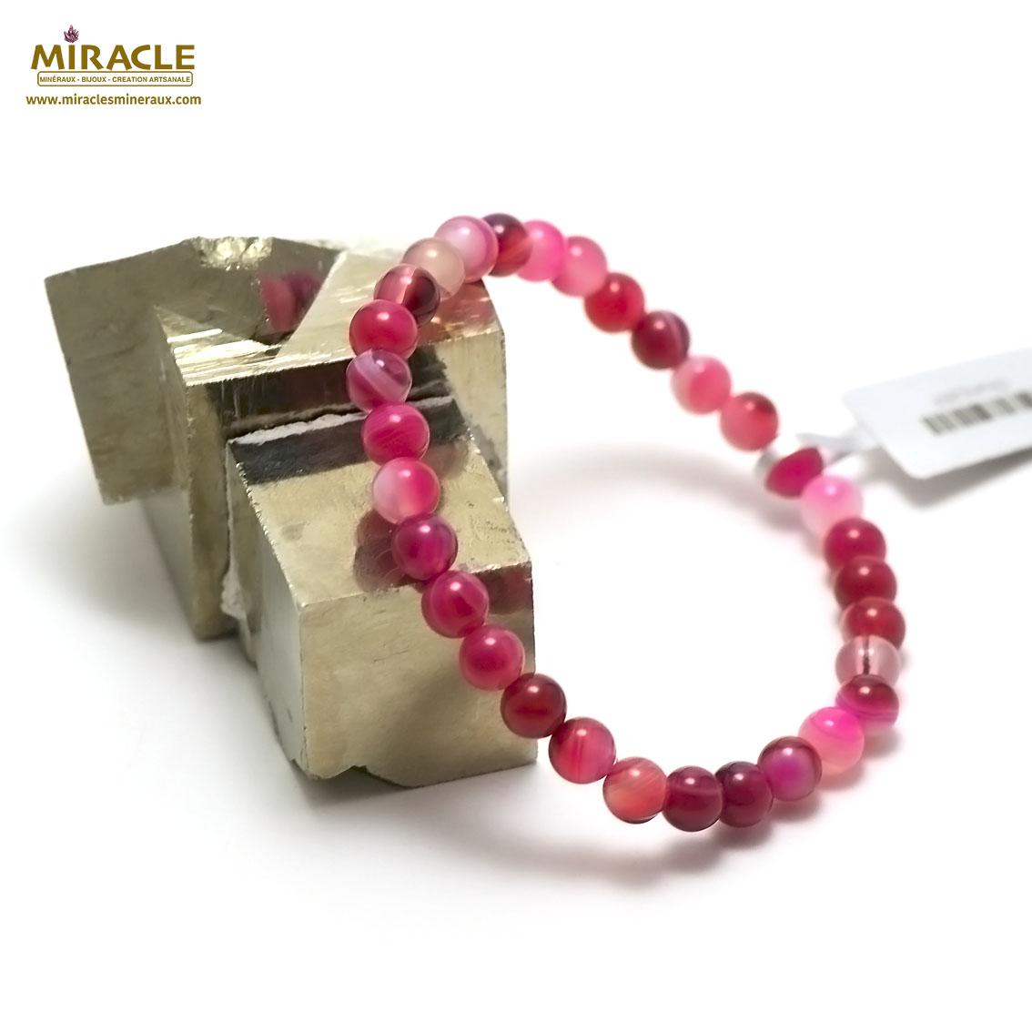 bracelet agate teinté fuchsia ronde 6 mm