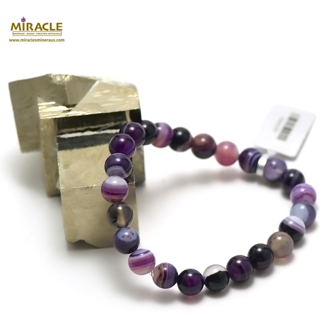 bracelet agate teinté  mauve 8 mm