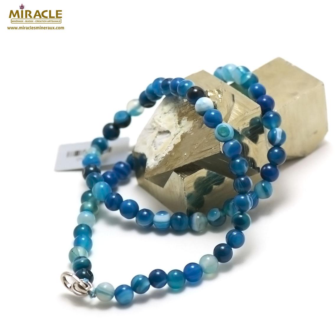 collier agate teinté bleu ronde 6 mm