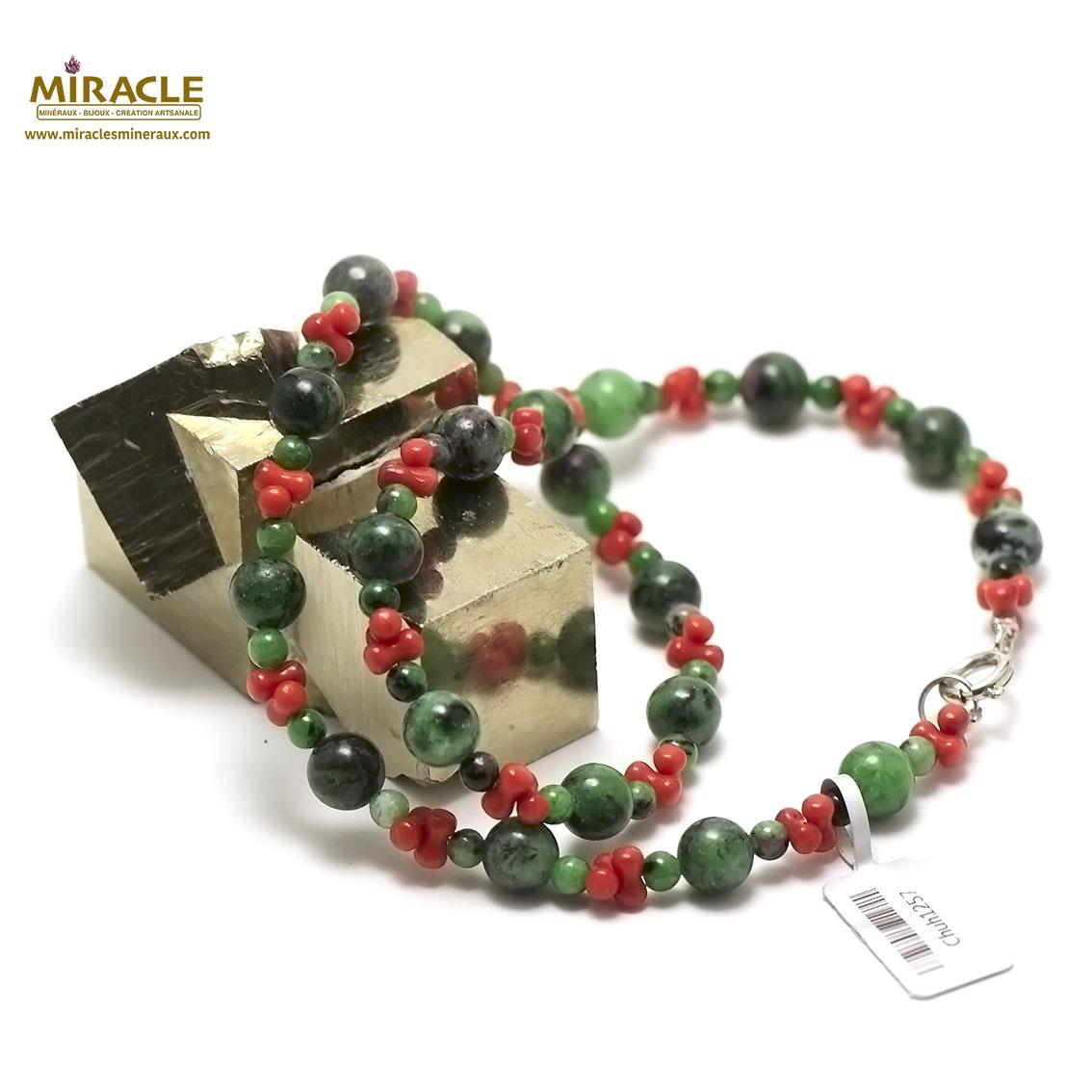 collier zoïsite et corail  perle ronde 8 et 4 mm