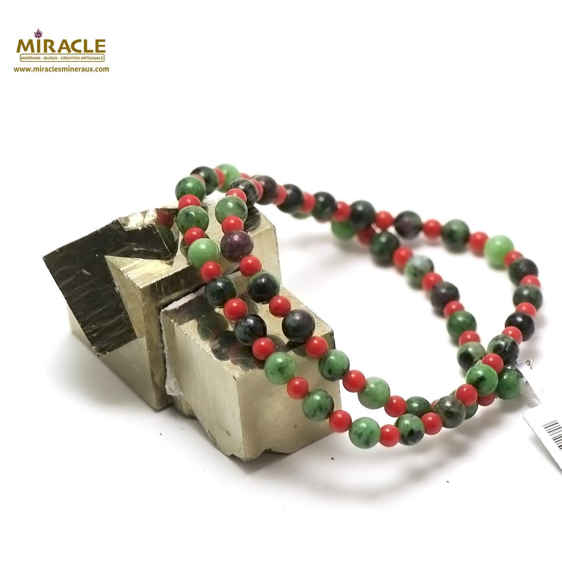 collier zoïsite perle ronde 6 mm et corail ,002