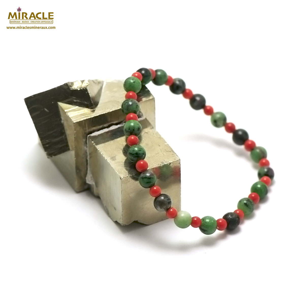 bracelet Zoïsie/corail  ronde 6 mm - 4 mm,001