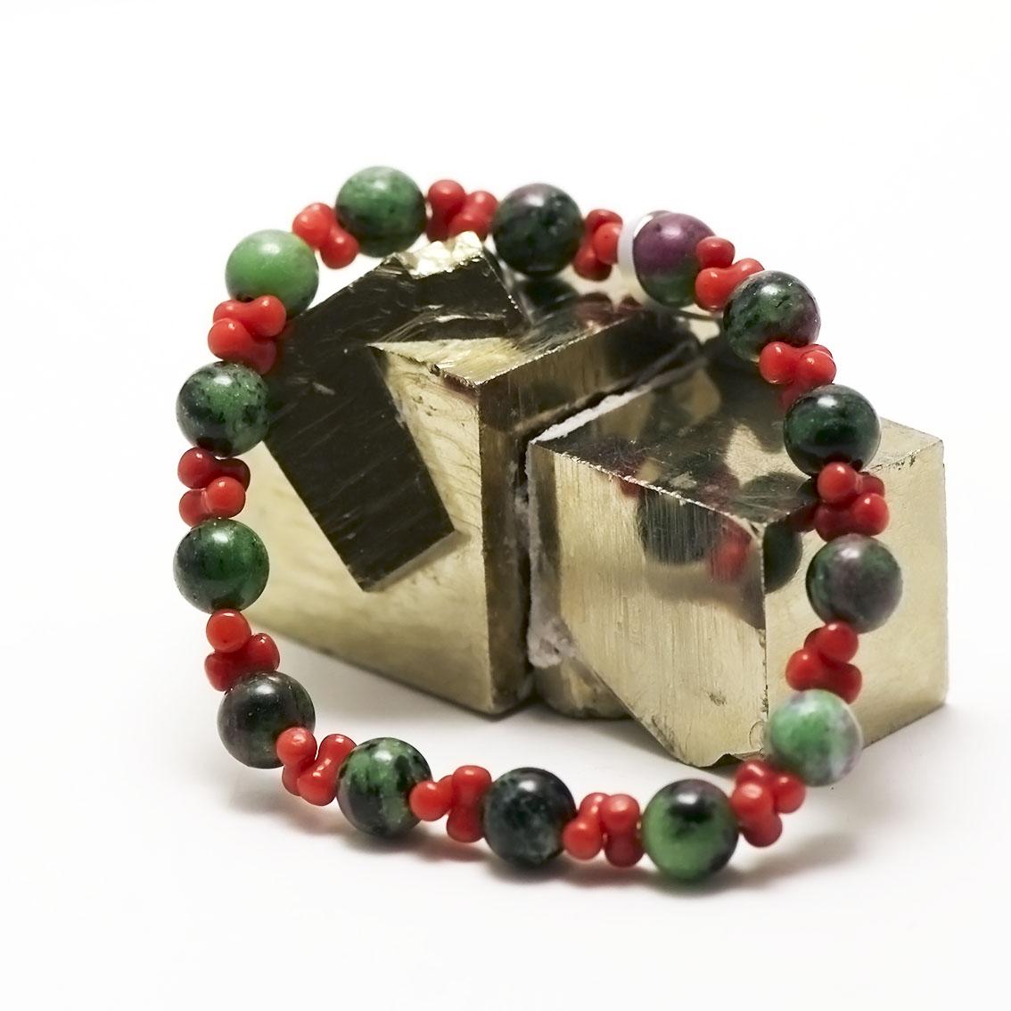 bracelet zoïsite/corail ronde 8 mm,002