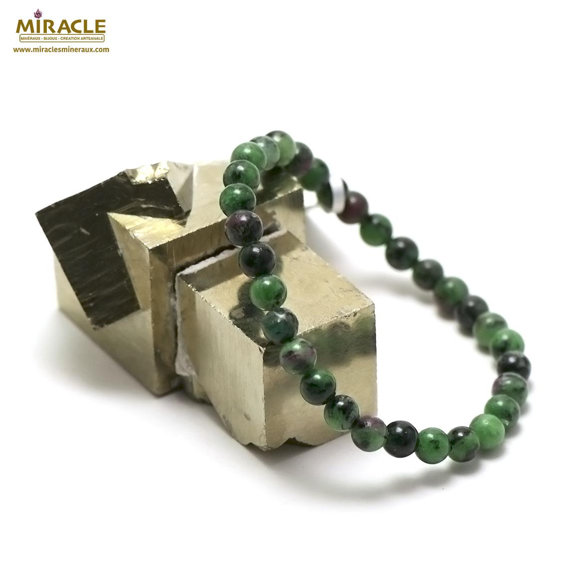 bracelet zoïsite  perle ronde 6 mm