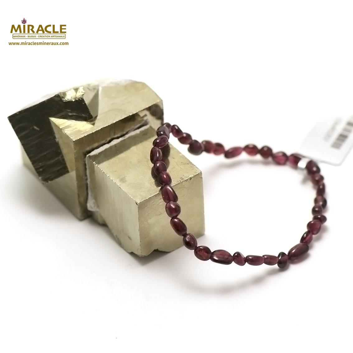 bracelet grenat mini galet baroque