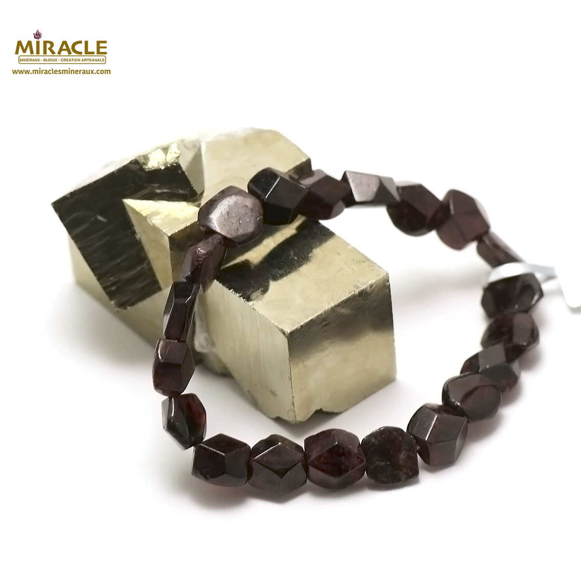 bracelet grenat palet rond angulaire