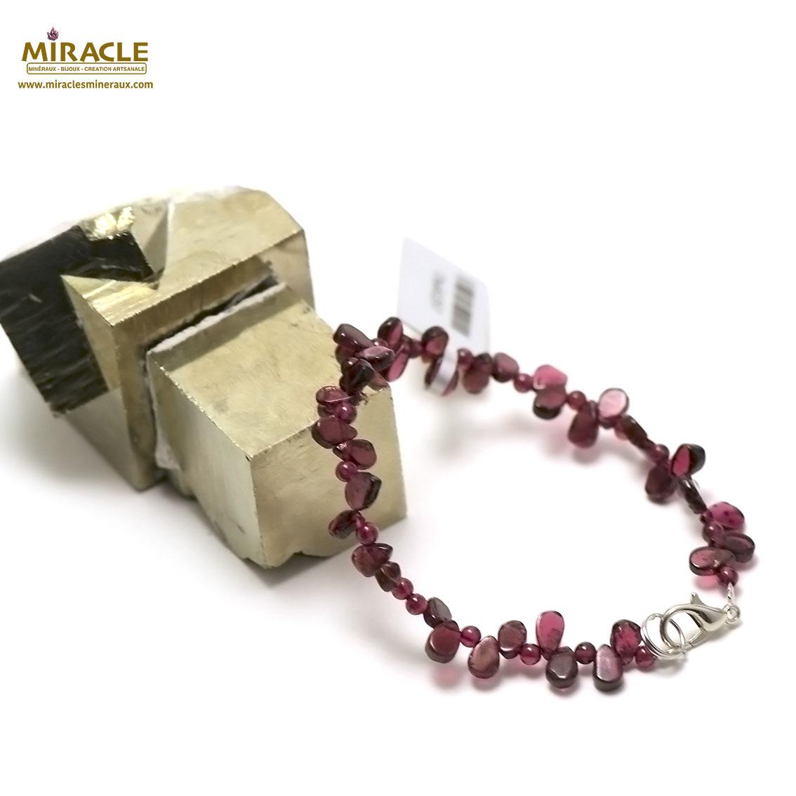 bracelet grenat goutte d\'eau plate