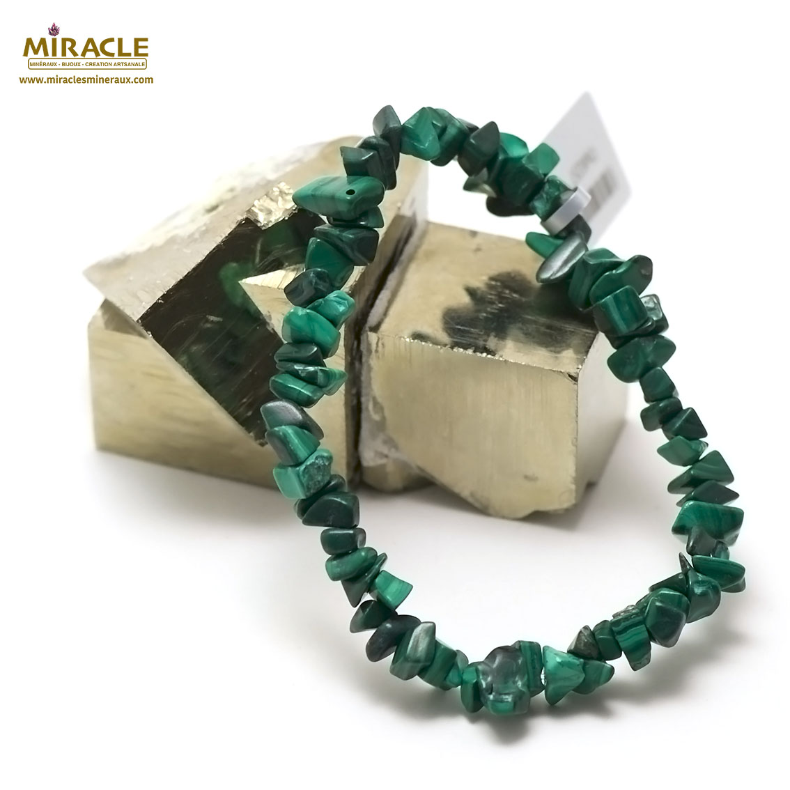 bracelet malachite perle chips