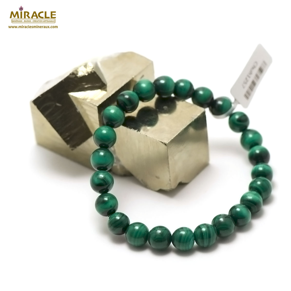 bracelet malachite  perle ronde 8 mm