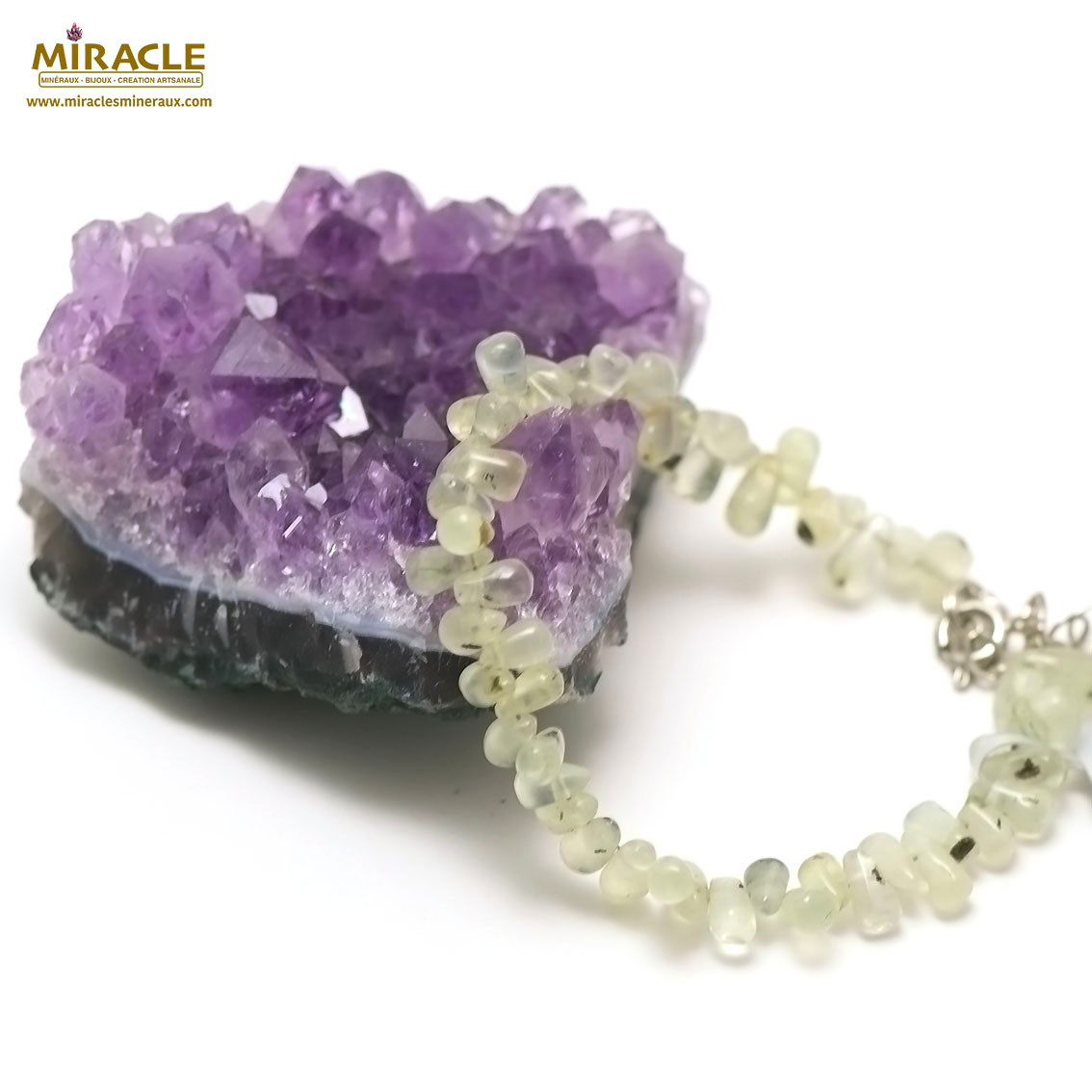 bracelet préhnite mini goutte horizontal