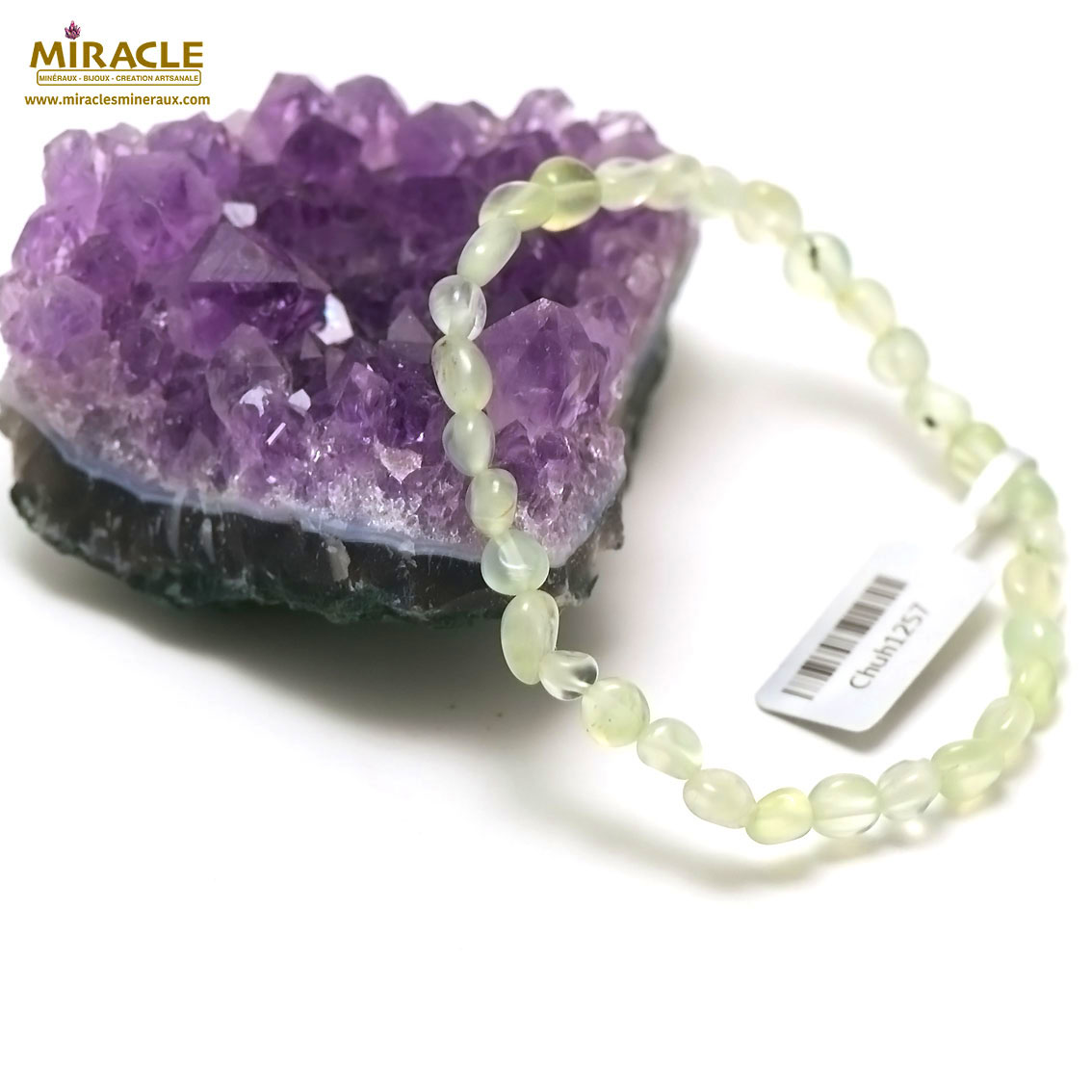 bracelet préhnite mini galet baroque
