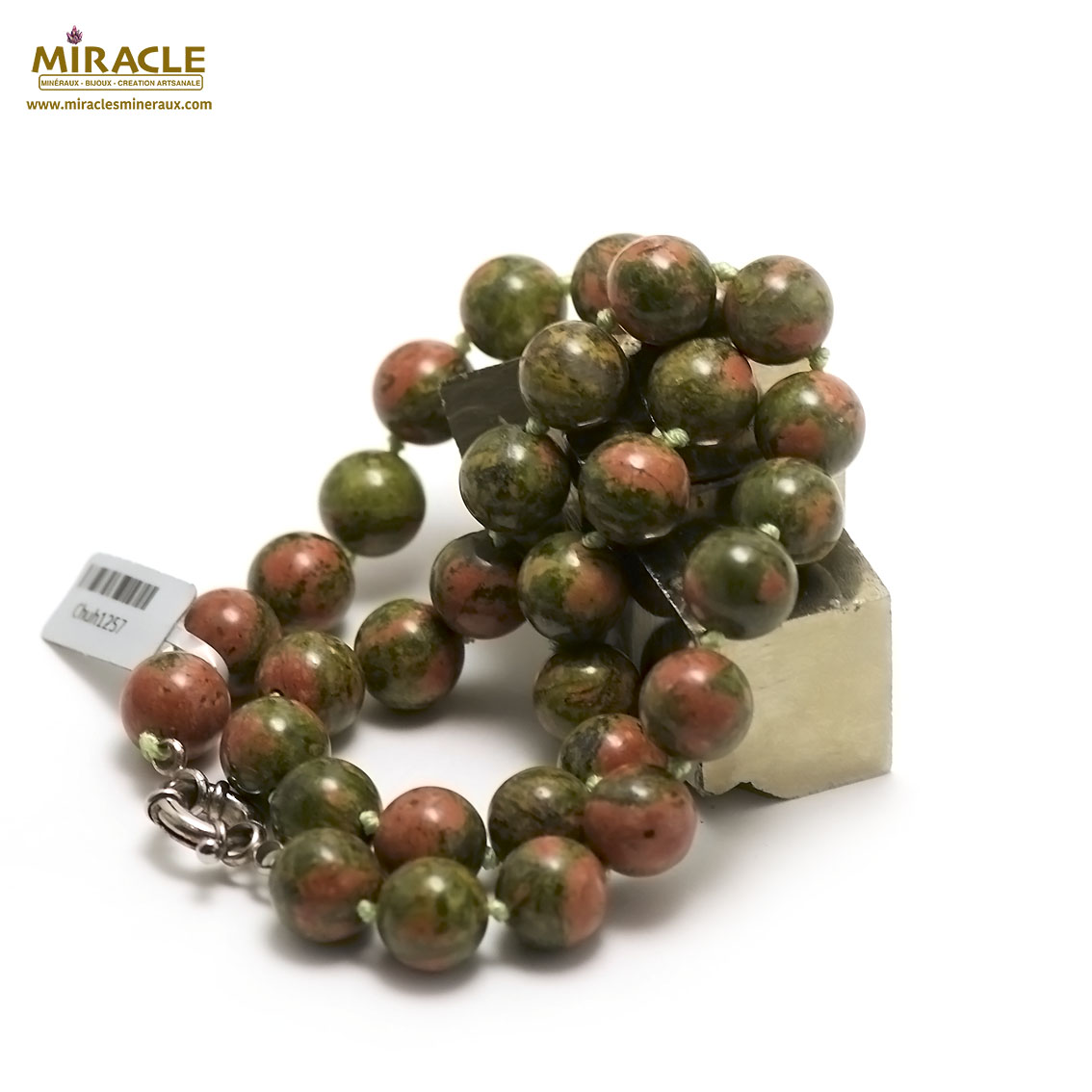 collier unakite ronde 12 mm