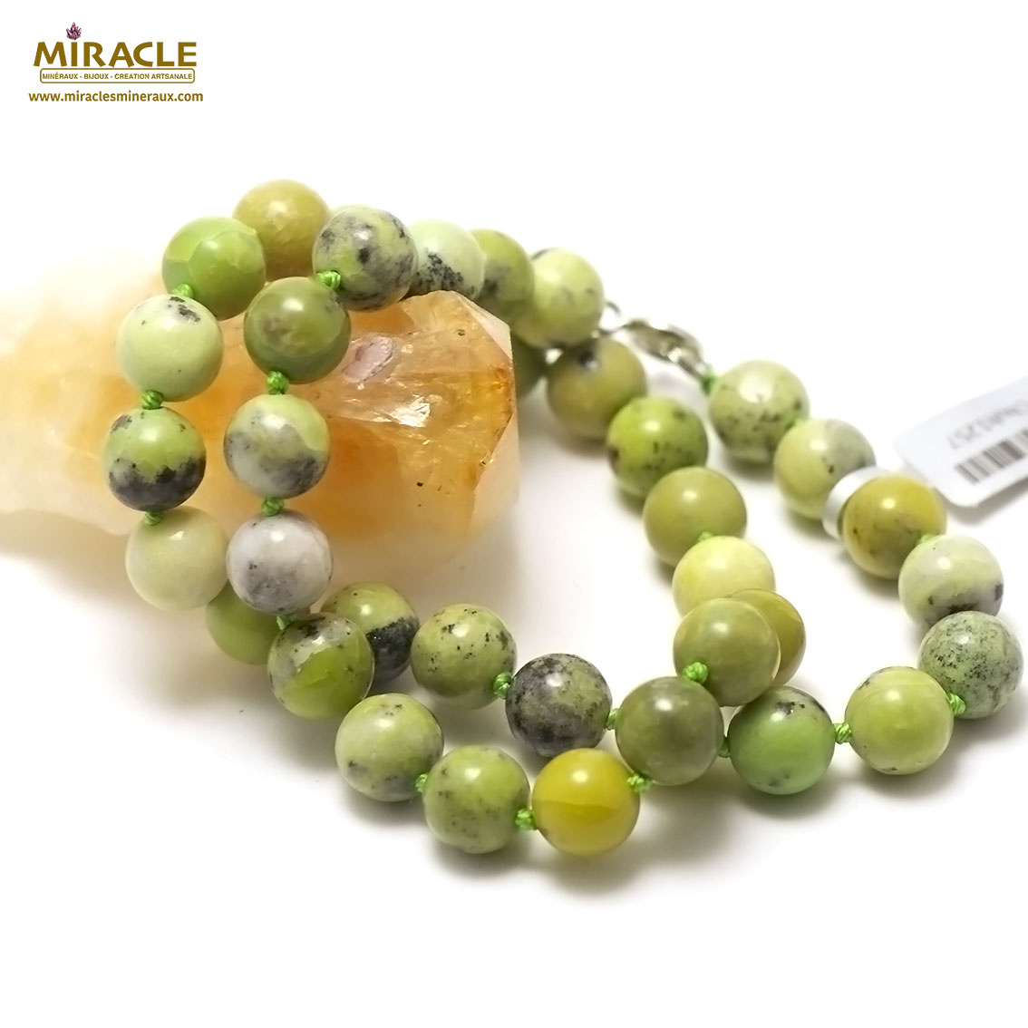 collier chrysoprase citronronde 10 mm