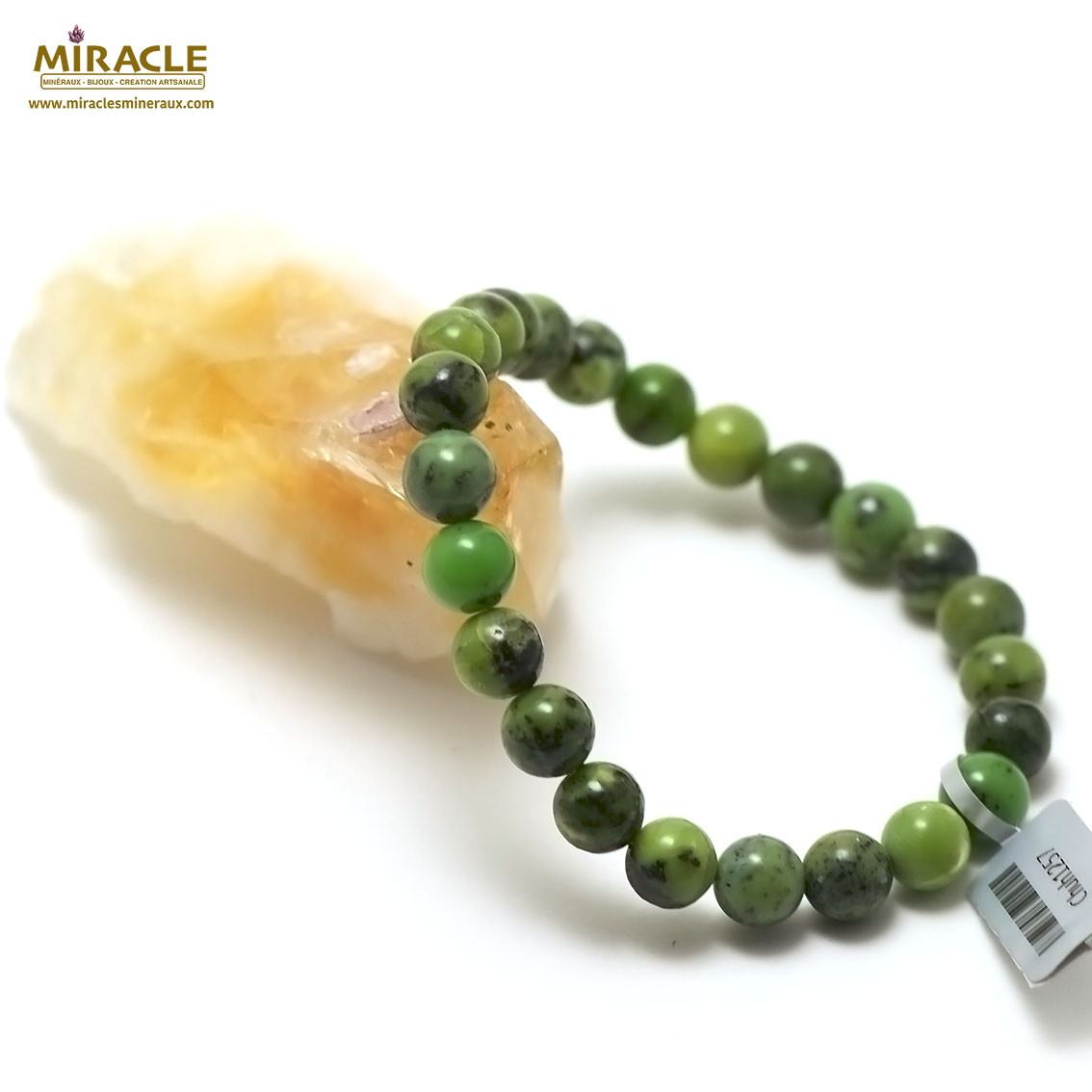 bracelet chrysoprase  ronde 8 mm