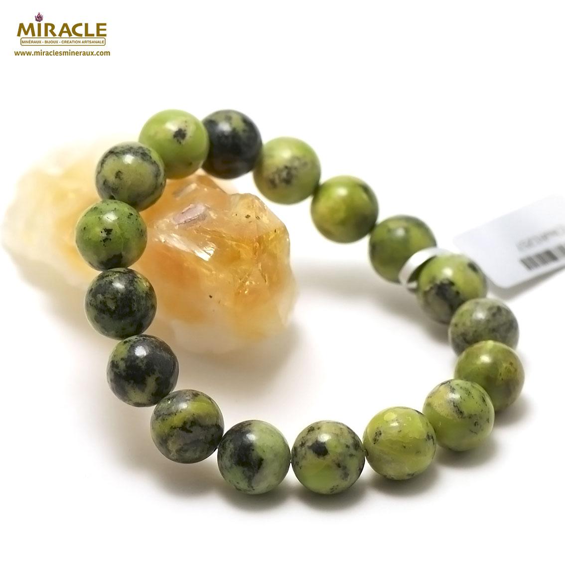 bracelet chrysoprase  perle ronde 12 mm