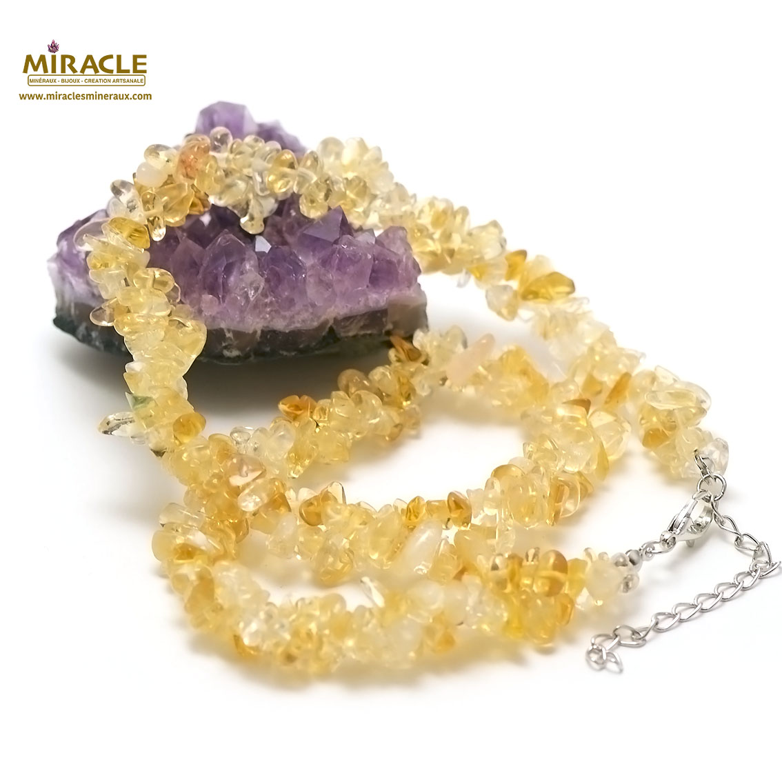 collier citrine  double rangs chips