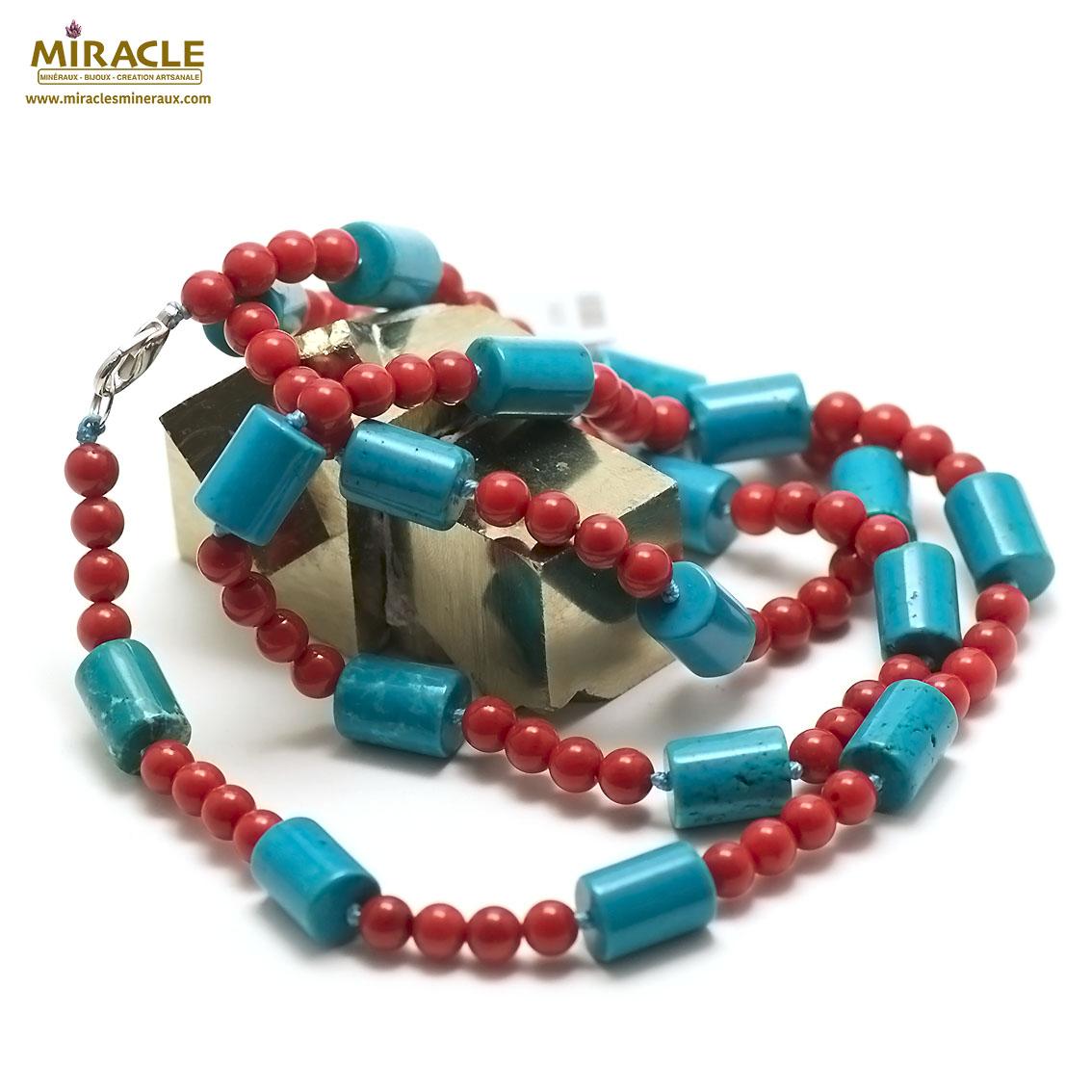 collier long turquoise et corail tube et perle ronde 7 mm