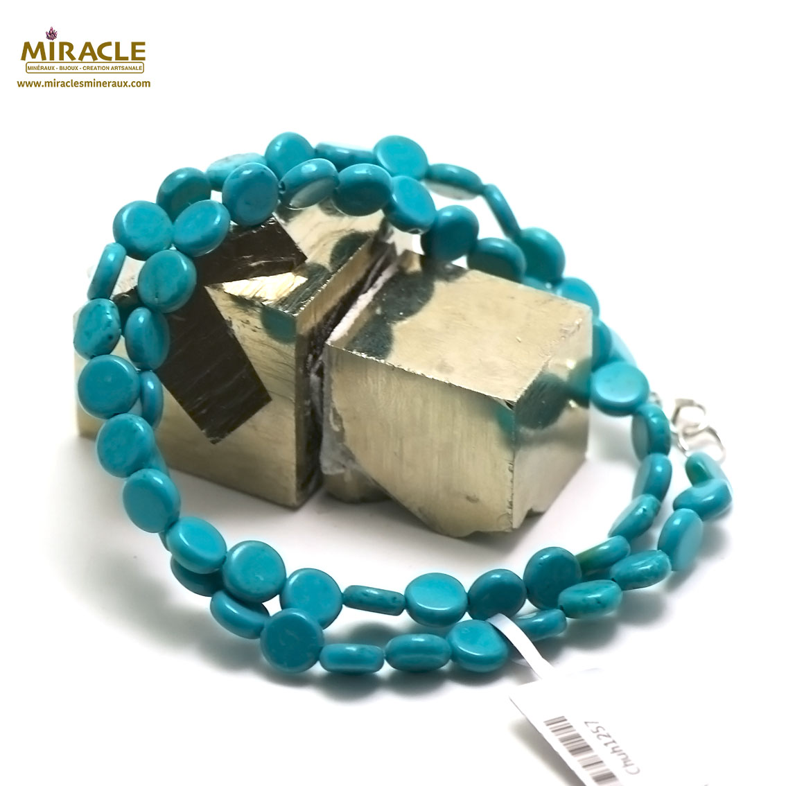 collier turquoise  perle mini palet ronde