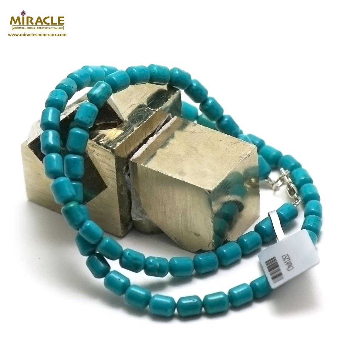 collier turquoise mini tube , pierre naturelle