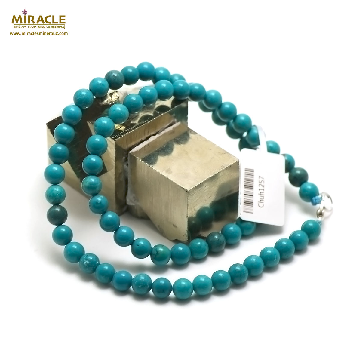 collier turquoise  perle ronde 6 mm, pierre naturelle