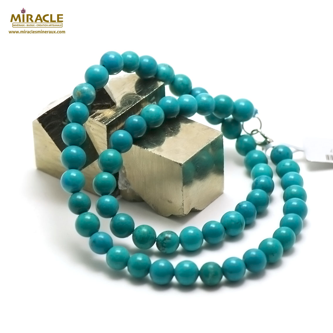 collier turquoise  perle ronde 8 mm, pierre naturelle
