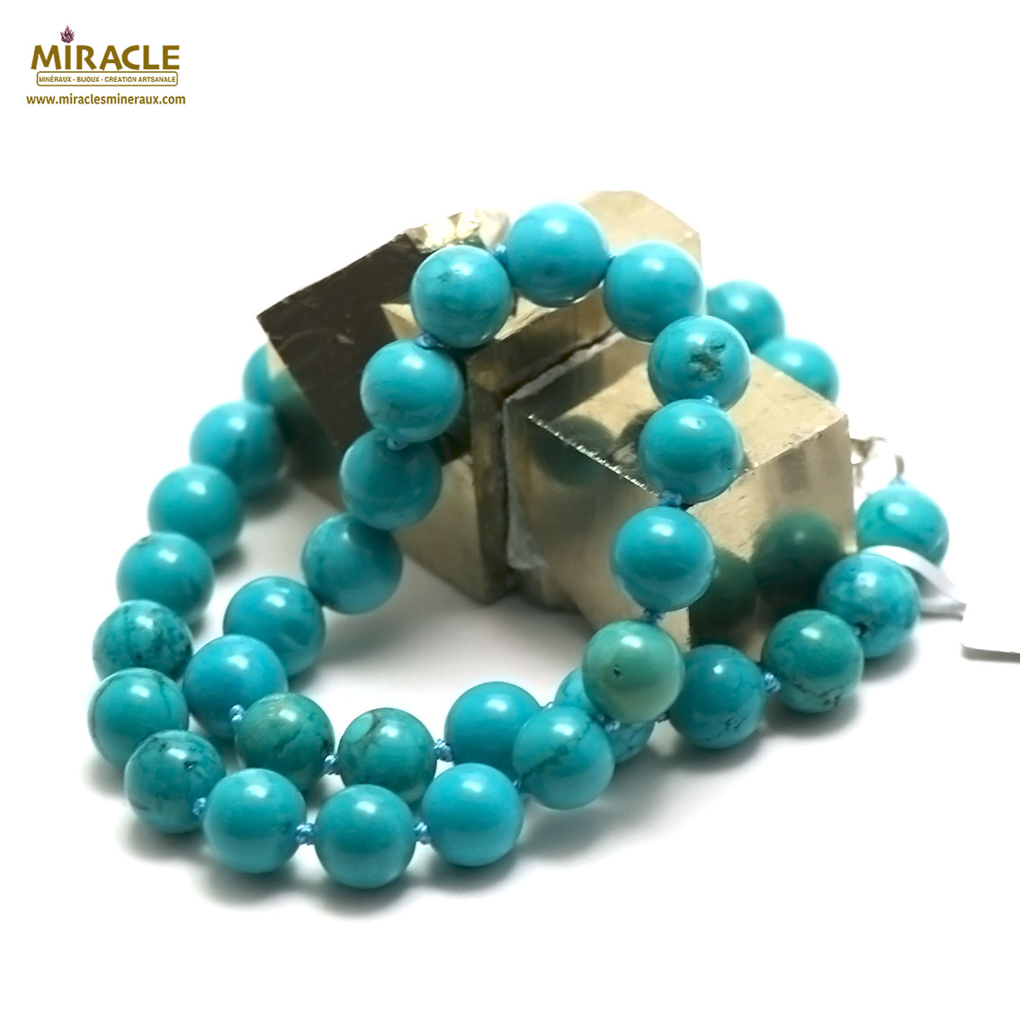 collier turquoise  perle ronde 10 mm