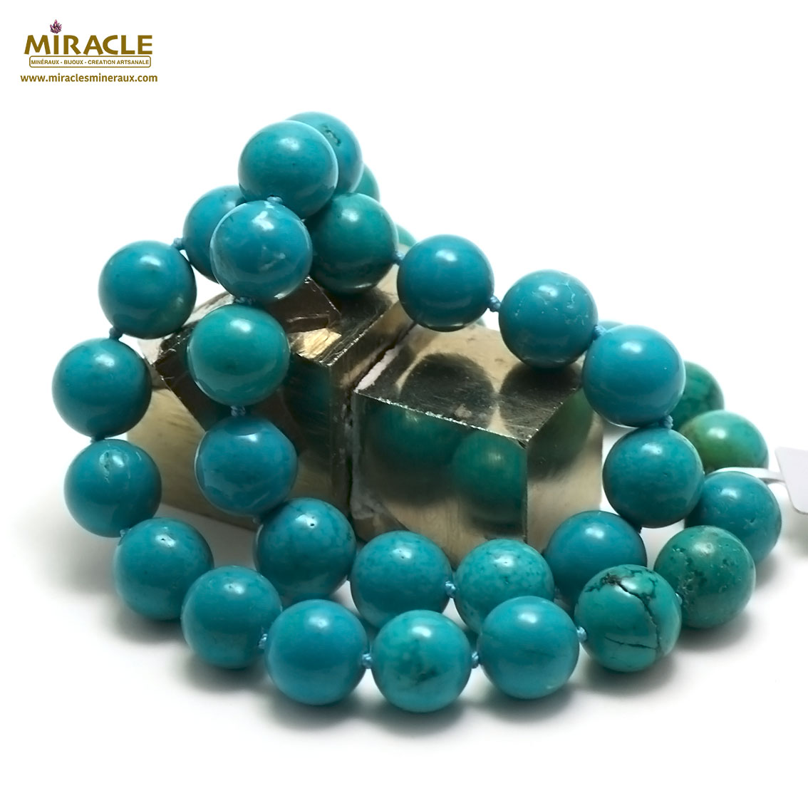 collier turquoise  perle ronde 12 mm