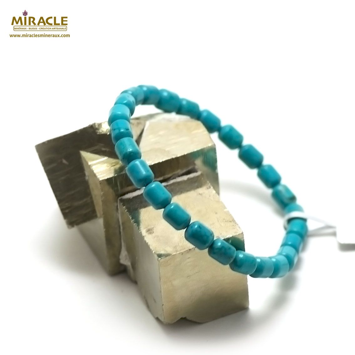 bracelet turquoise mini tube 7 x5 mm , pierre naturelle