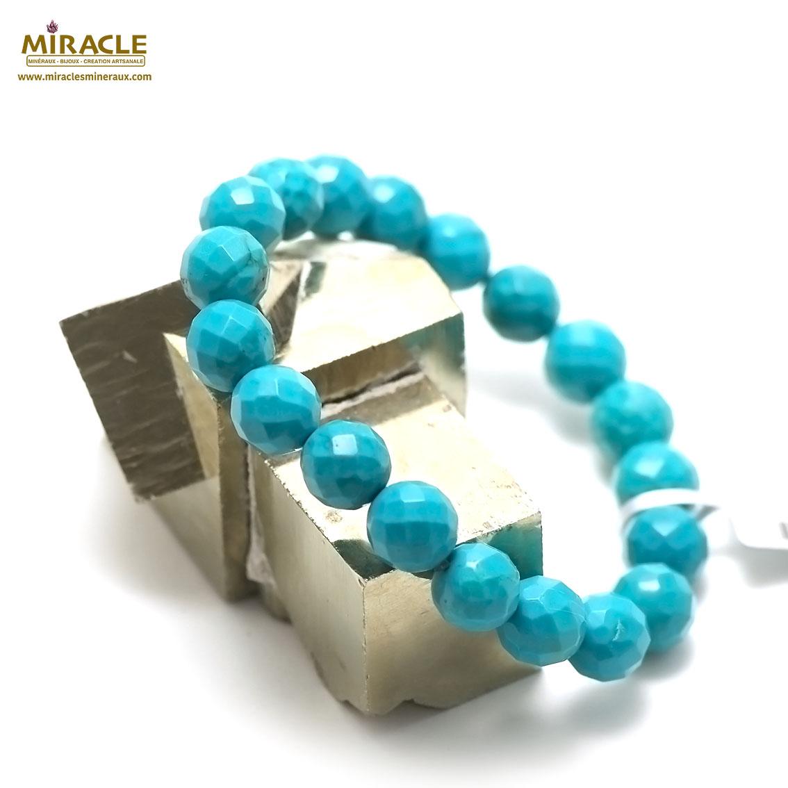 bracelet turquoise  perle ronde facettée 10 mm