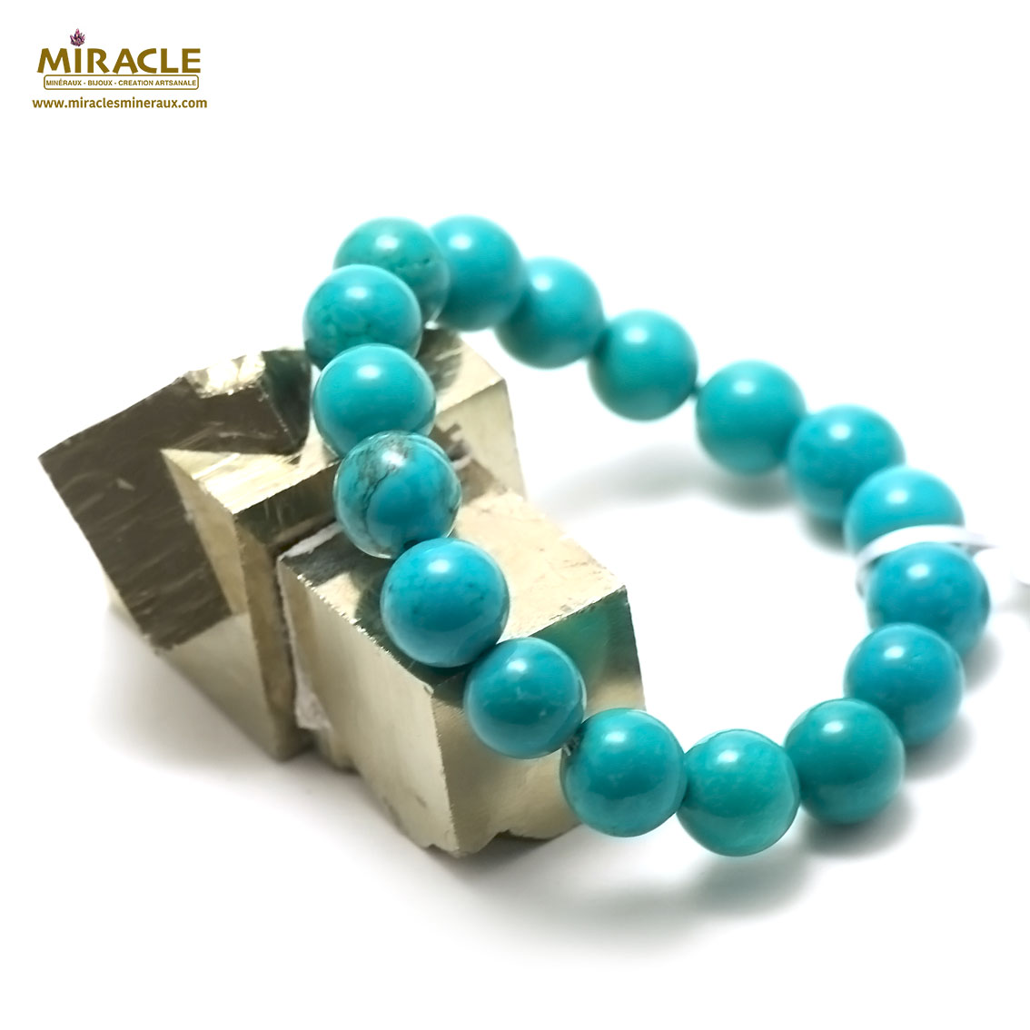 bracelet turquoise perle ronde 14 mm