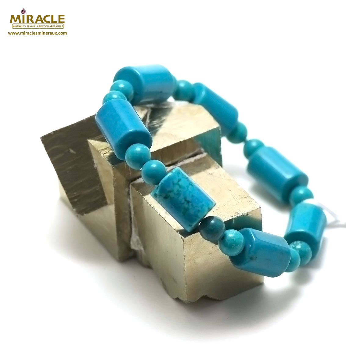 bracelet turquoise cylindre/double ronde 6 mm ,pierre naturelle
