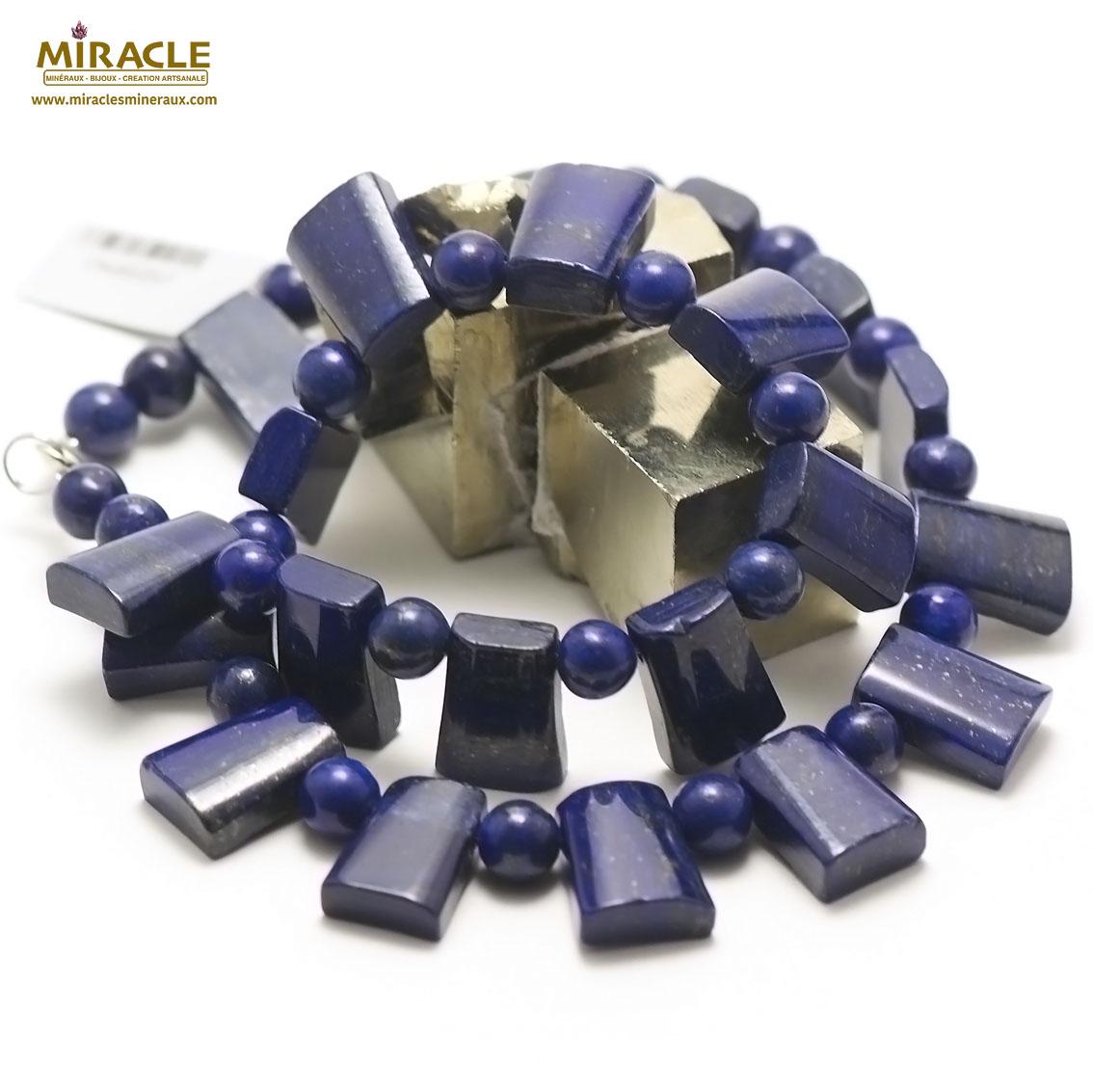 collier lapis lazuli trapèze horizontal