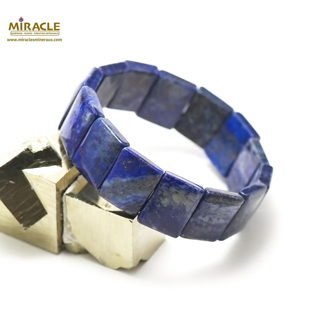 bracelet lapis lazuli plaquette carré
