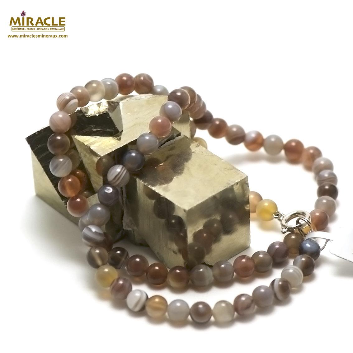 collier agate de botswana perle ronde 6mm