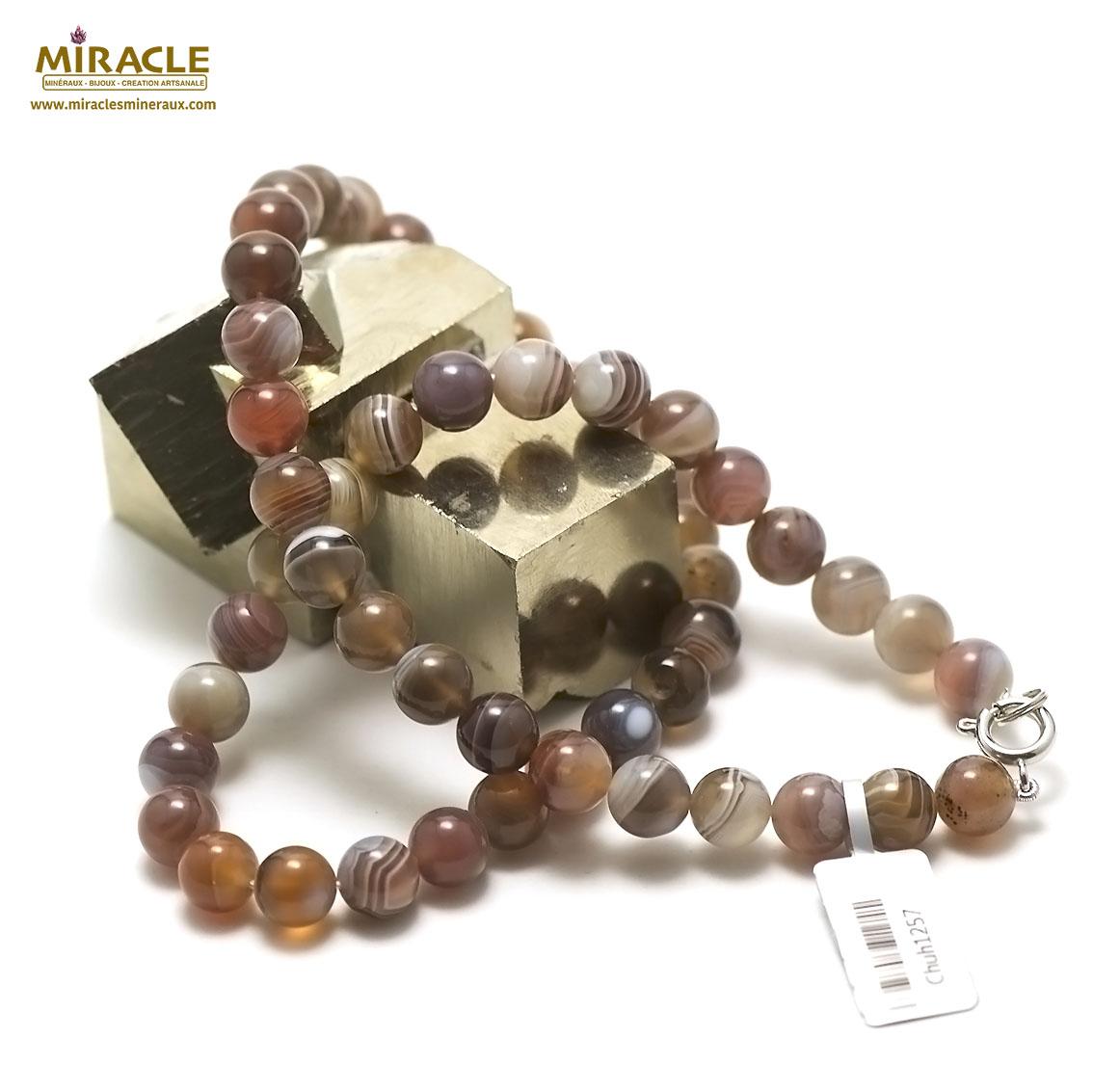 collier agate de Botwsana perle ronde 8 mm