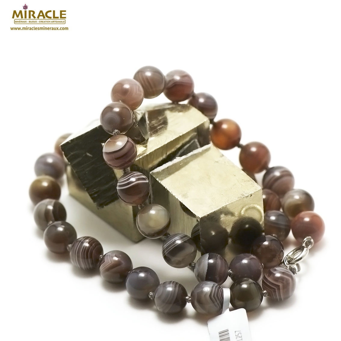 collier agate de Botswana perle ronde 10 mm