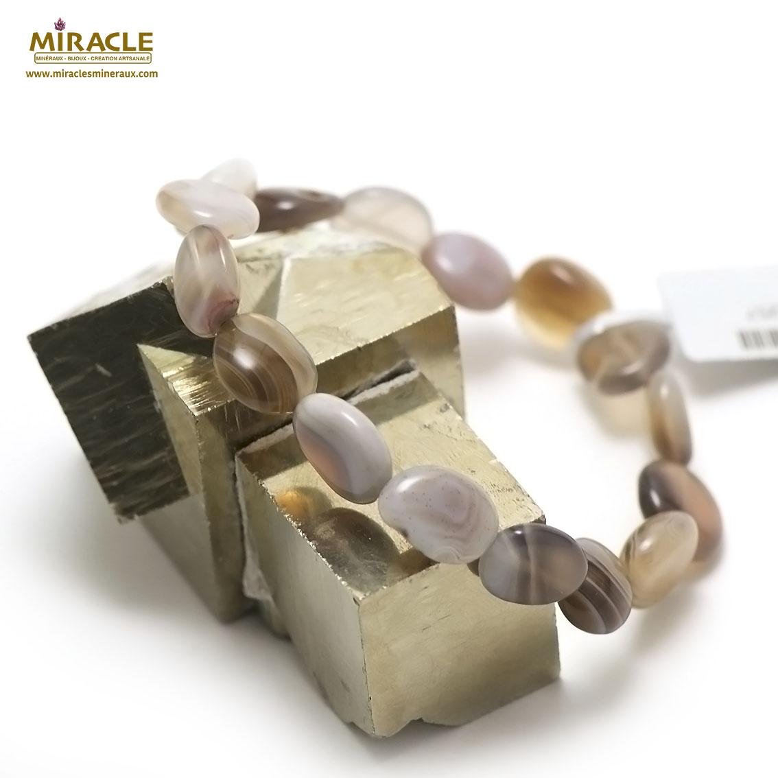 bracelet d\'agate de Botswana palet ovale baroque