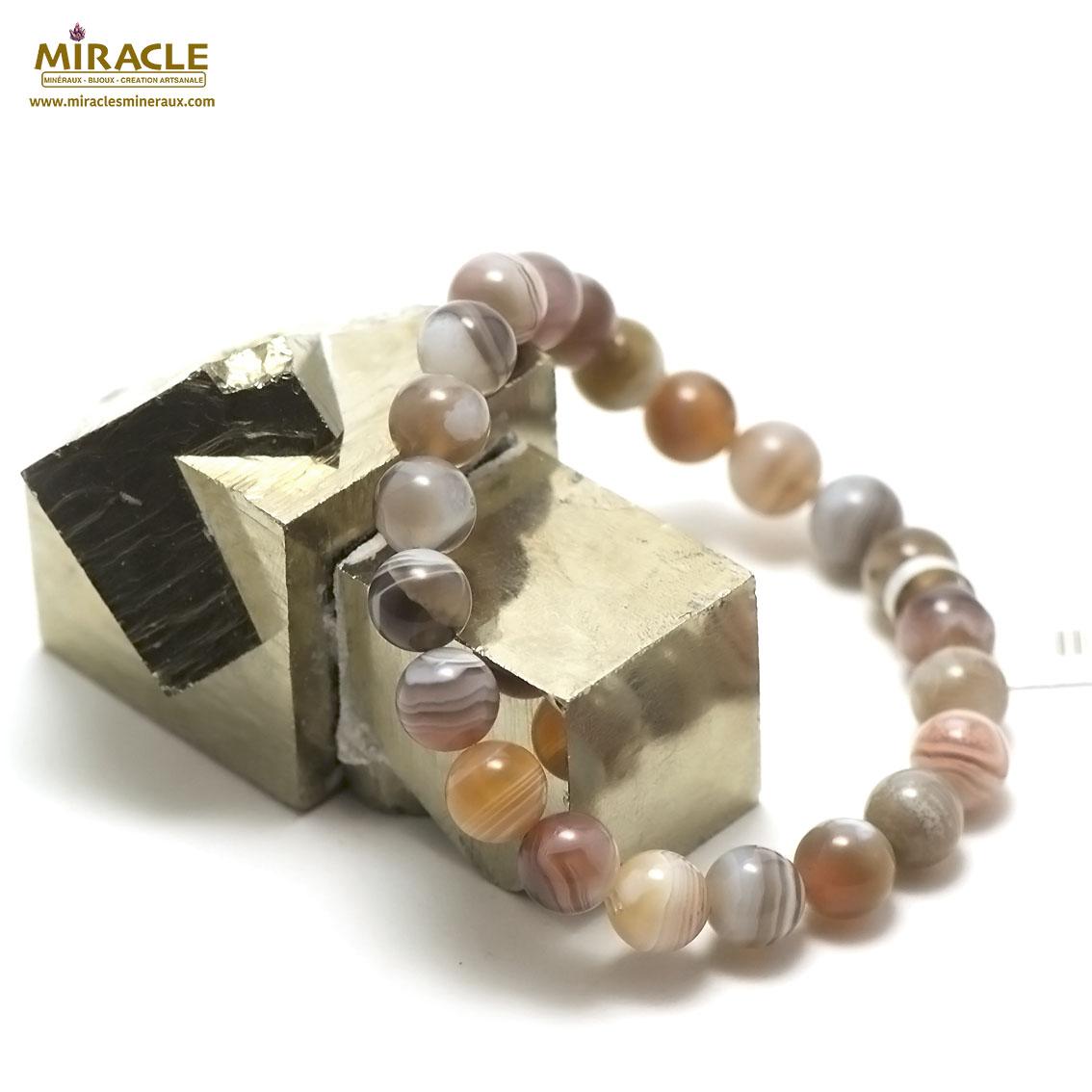 Bracelet agate de Botswana perle ronde 8 mm