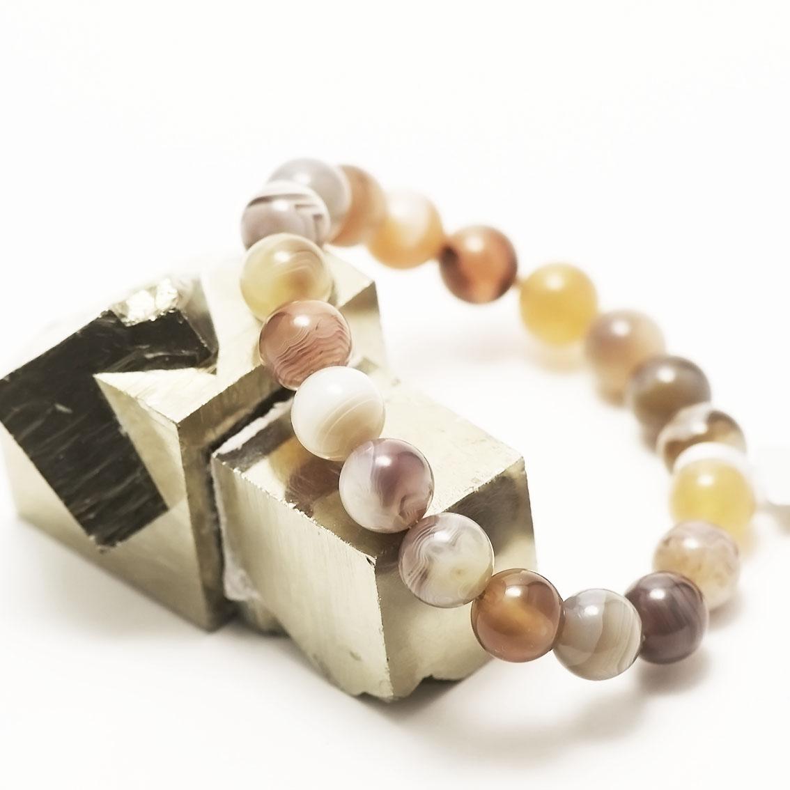 bracelet agate de Botswana  perle ronde 10 mm