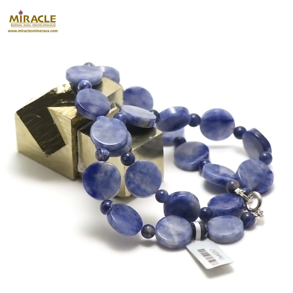 collier sodalite palet rond-perle ronde 6 mm