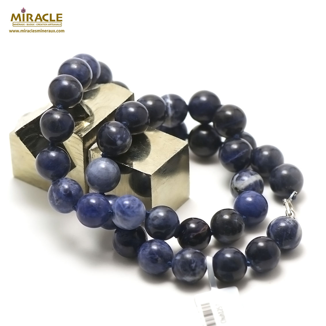 collier sodalite perle ronde 12 mm