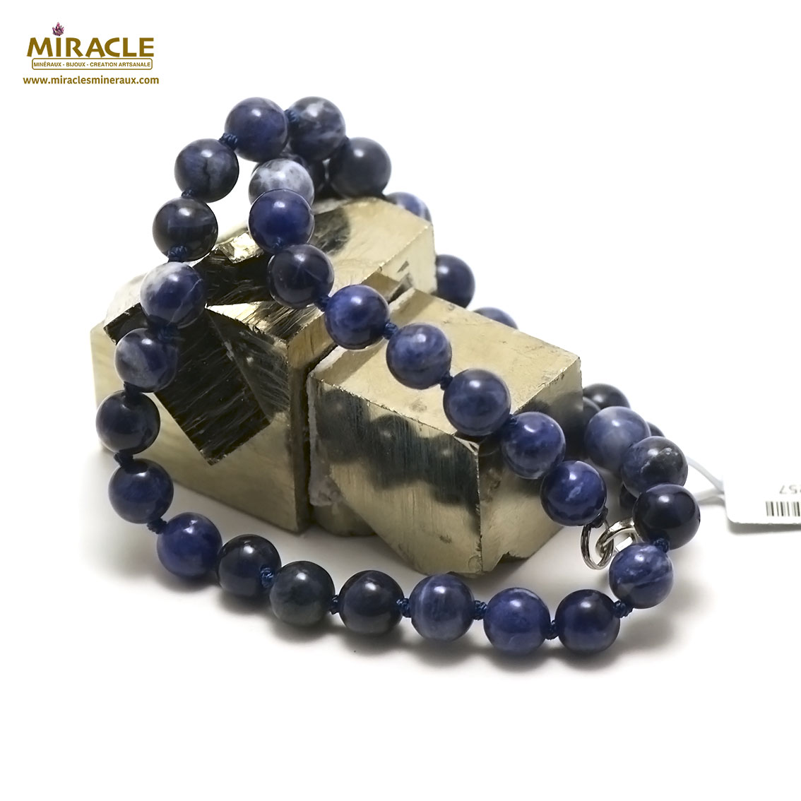 collier sodalite  perle ronde 8 mm
