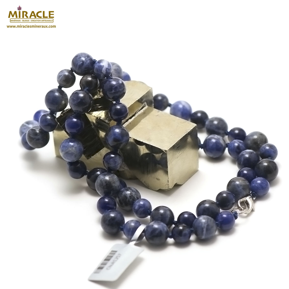 collier long sodalite perle ronde 10-8 mm