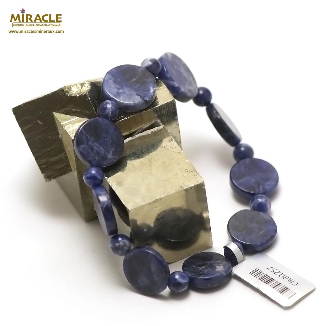 bracelet sodalite palet rond - perle ronde 6 mm