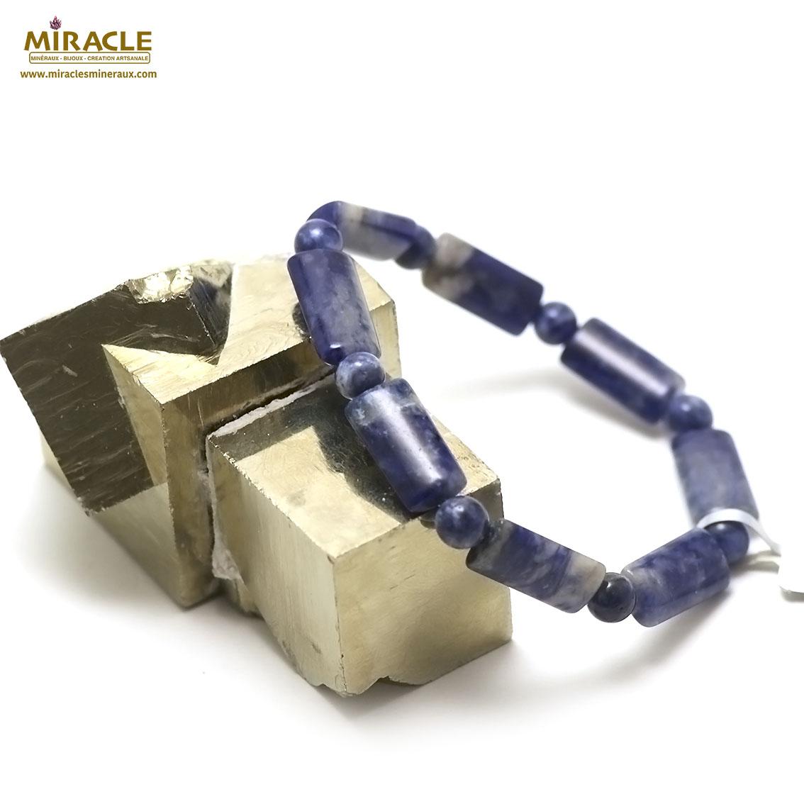 bracelet Sodalite rectangle bombé-perle ronde 6 mm