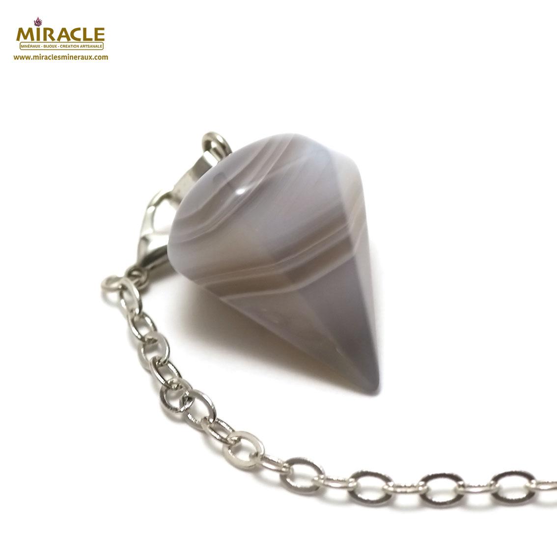 pendule agate  grande cône facettée