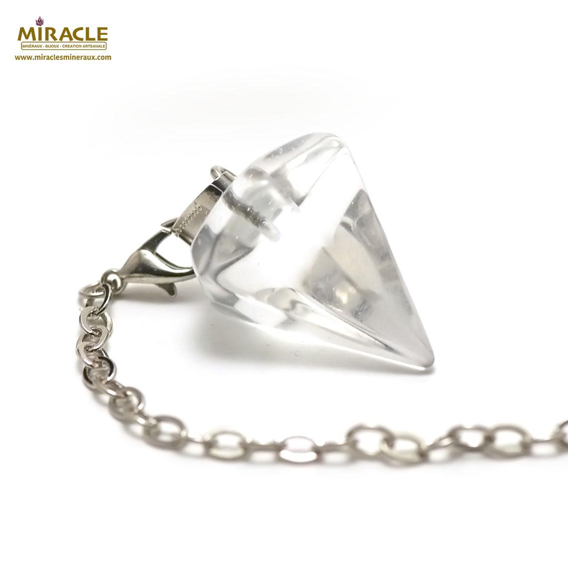 pendule en cristal de roche grande cône facettée